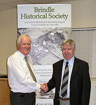 Bryan Douglas with Brindle Historical Society Secretary Steve Williams