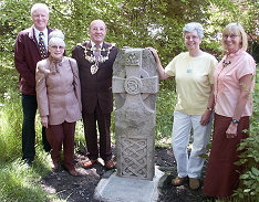 The official opening of the new Celtic Cross on May 18 2004 by Mayor of Chorley Cllr Eric Bell, Steve Williams and members of the Friends of St Helen's Well.